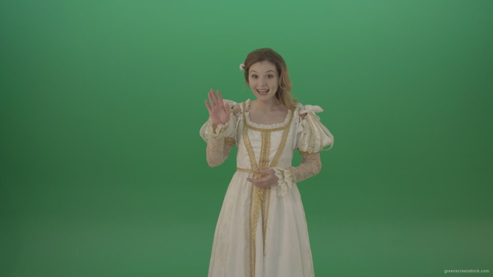 vj video background Cheerful-and-satisfied-girl-in-a-white-suit-telling-her-waving-her-hand-isolated-on-green-screen_003