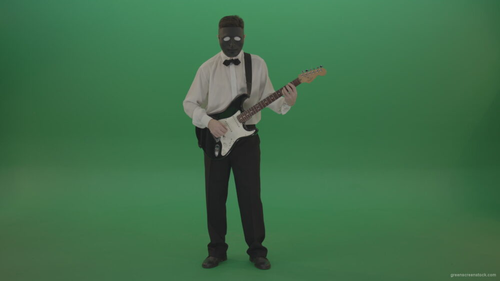 vj video background Classic-guitarist-in-white-shirt-play-guitar-in-mask-isolated-on-green-screen_003