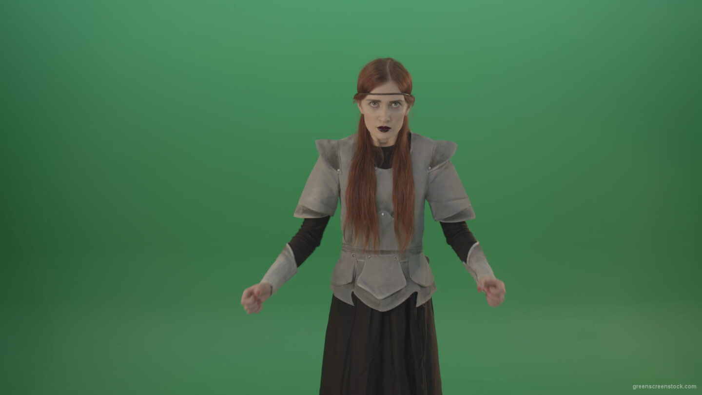 vj video background Cried-warrior-girl-releases-all-her-energy-cosplay-on-a-green-background_003