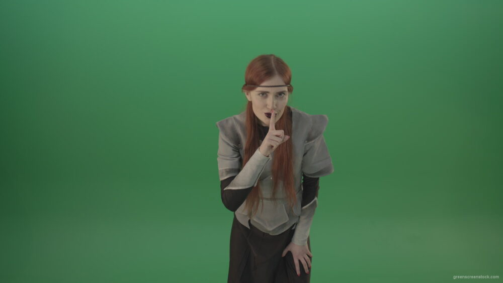 vj video background Dressed-Witch-Girl-in-medieval-costume-showing-quit-sign-emotion-with-finger-isolated-on-green-screen_003