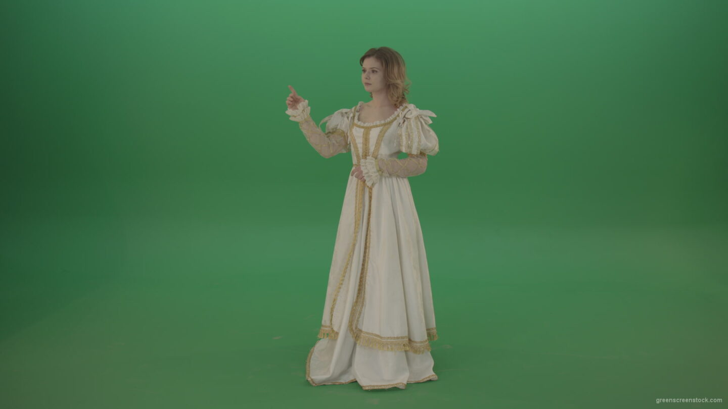 vj video background Flips-a-virtual-screen-girl-in-a-white-princess-dress-isolated-on-green-screen_003