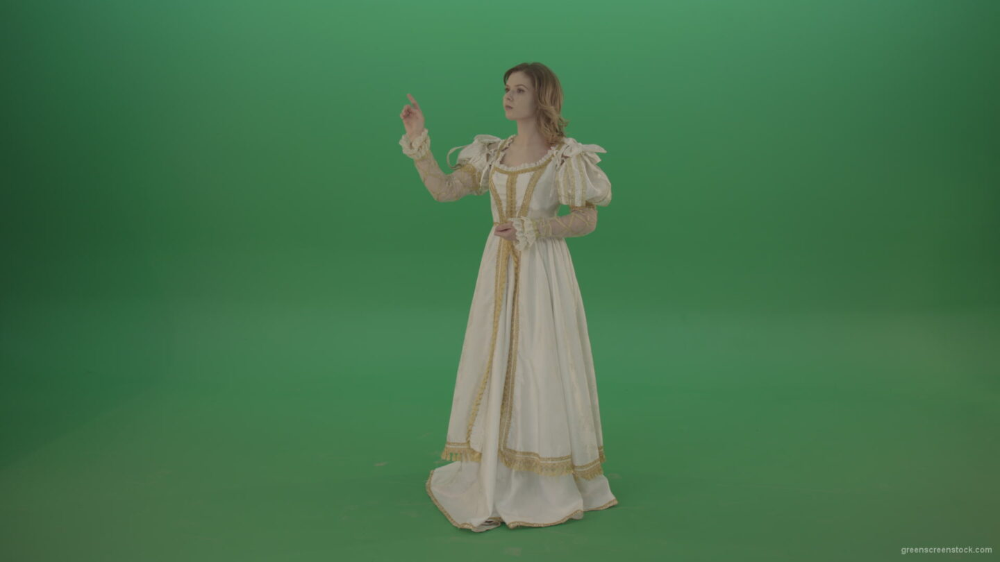 vj video background Flips-the-touchscreen-princess-in-a-white-dress-isolated-on-green-screen_003