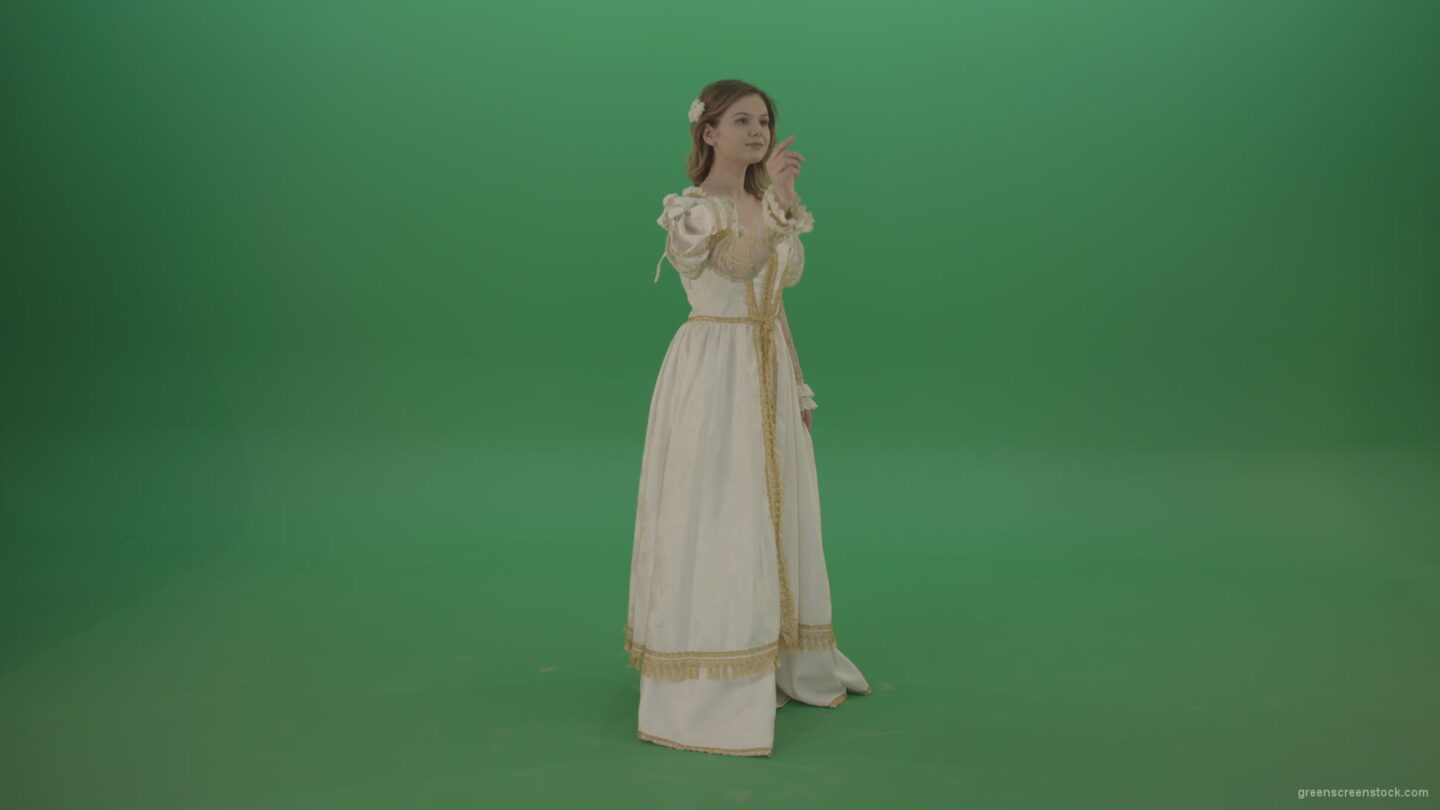 vj video background Flips-touchscreen-in-a-white-suit-of-a-medieval-woman-isolated-on-green-screen_003