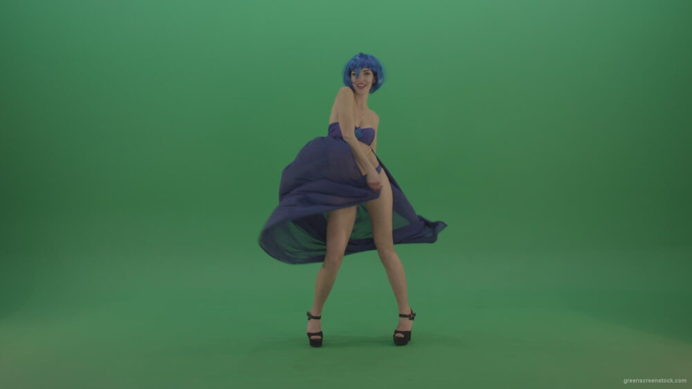 vj video background Full-size-erotic-young-girl-dancing-go-go-with-blue-dress-curtain-on-green-screen_003