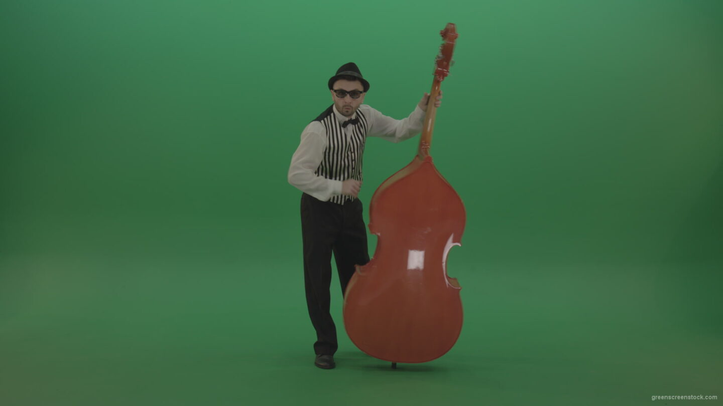 vj video background Full-size-man-play-jazz-on-double-bass-String-music-instrument-isolated-on-green-screen_003