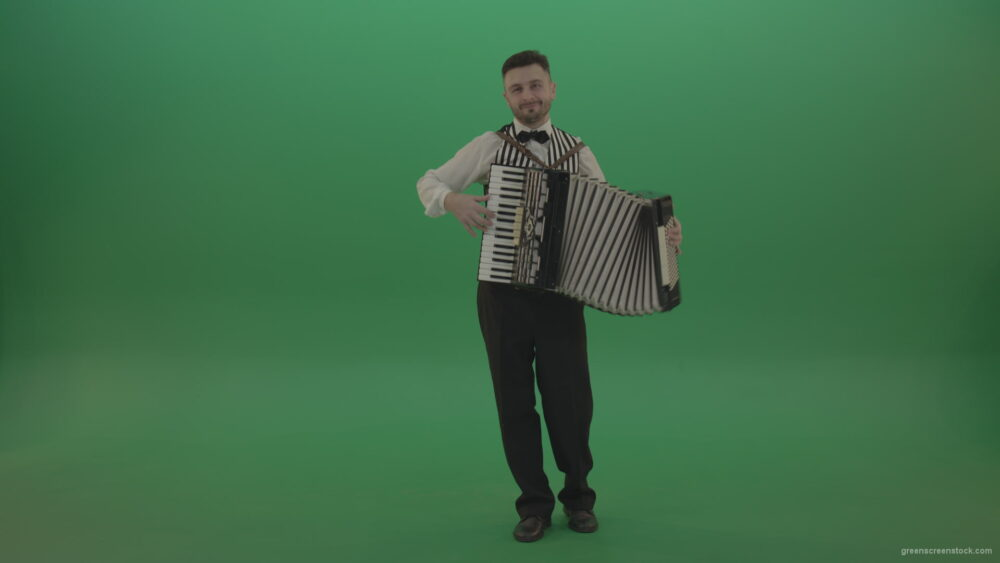 vj video background Funny-Accordion-man-player-playing-music-isolated-on-green-screen_003