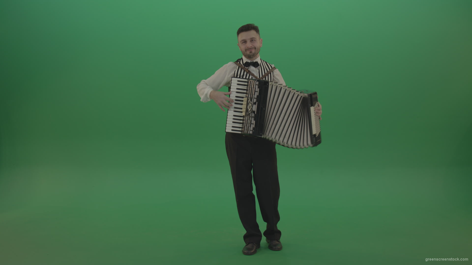 Funny Accordion man player playing music isolated on green screen – Green  Screen Video Footage
