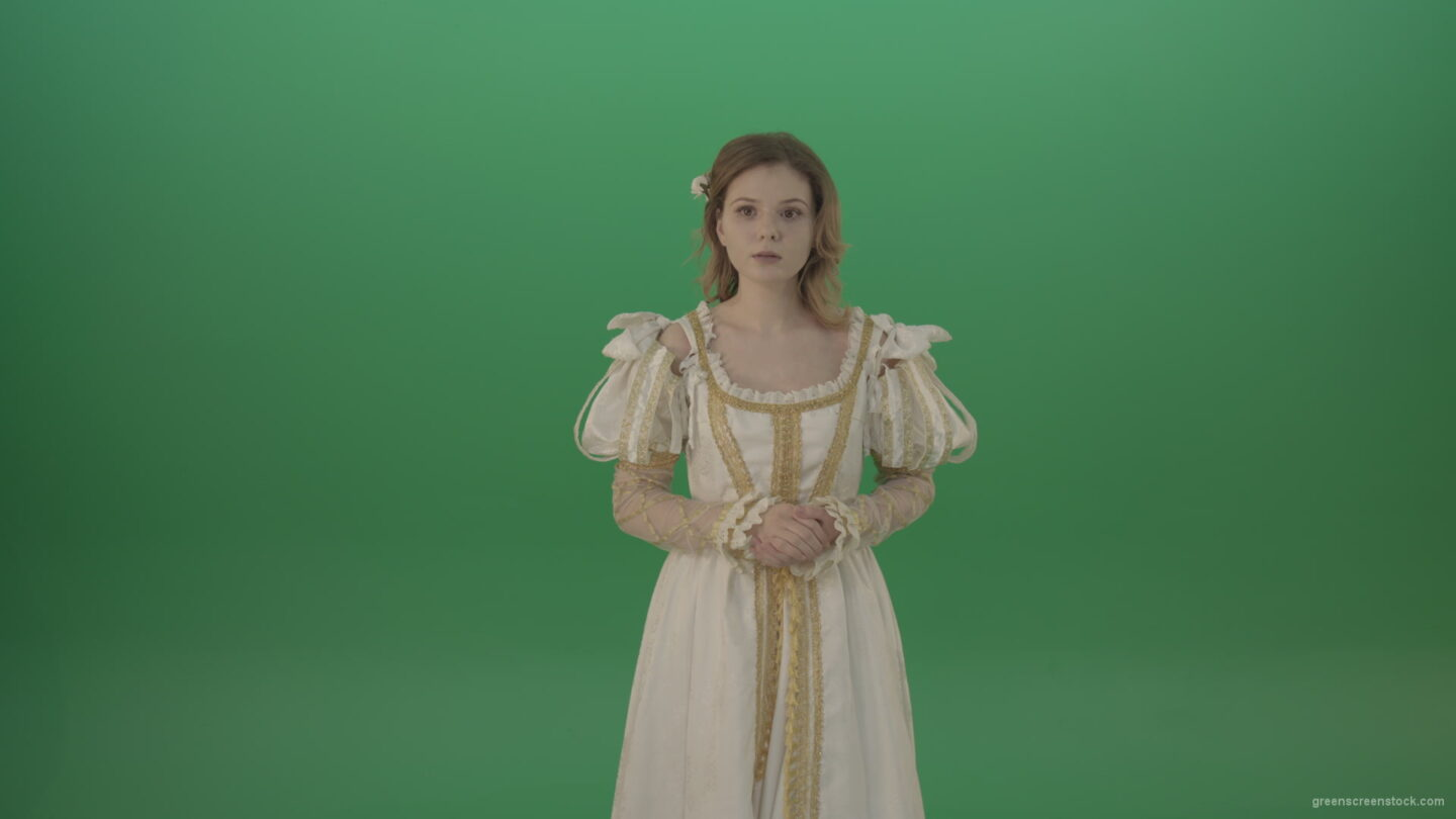vj video background Girl-asks-to-be-quieter-in-a-white-dress-isolated-on-green-screen_003