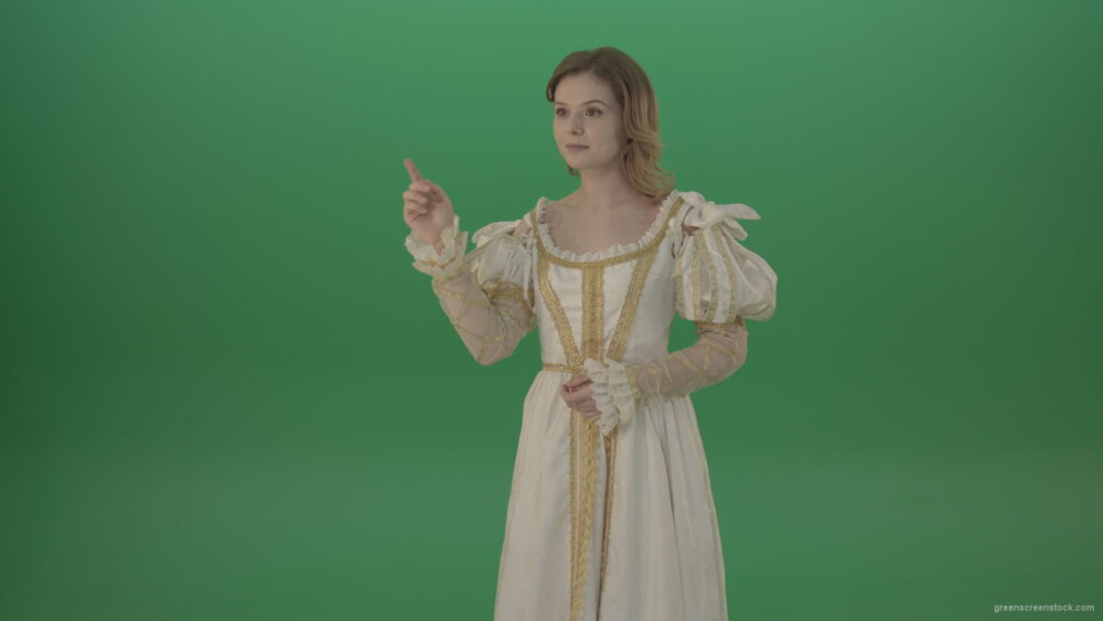 vj video background Girl-flips-a-virtual-screen-dressed-in-a-medieval-costume-isolated-on-green-screen_003