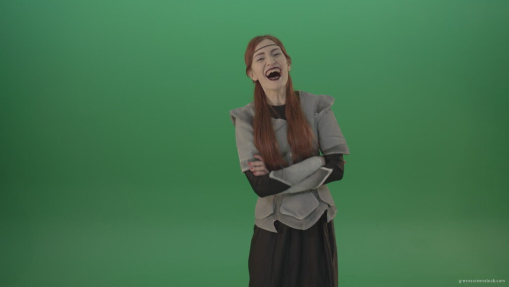 vj video background Girl-in-a-medieval-wig-costume-laughs-on-a-green-background-1_003