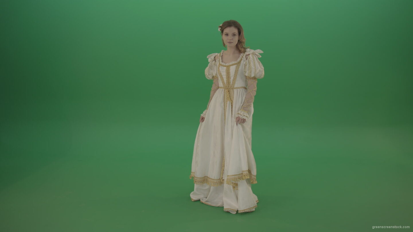 vj video background Girl-in-a-white-dress-faces-a-mystery-isolated-in-green-screen-studio_003