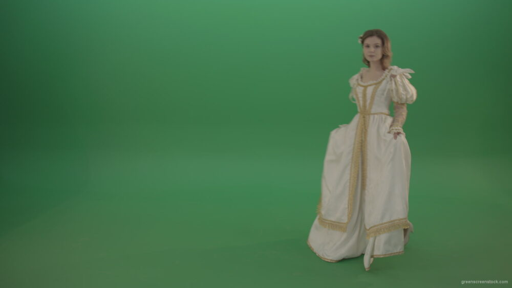 vj video background Girl-in-a-white-dress-goes-to-worship-and-goes-isolated-in-green-screen-studio_003