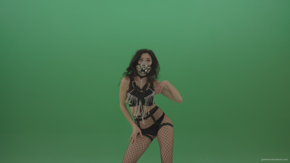 vj video background Girl-in-black-suit-and-suit-erotic-dance-on-green-background_003