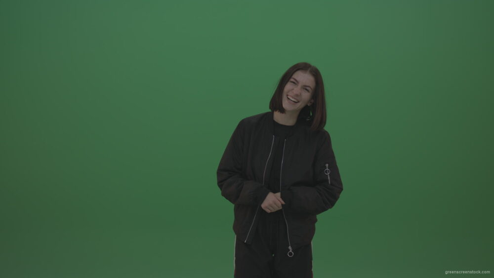 vj video background Girl-in-black-wear-smiles-as-she-poses-over-chromakey-background_003