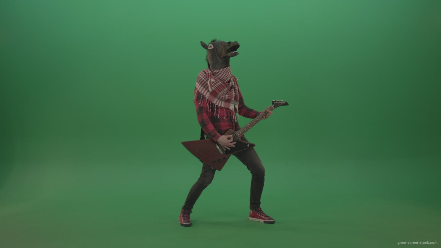 vj video background Green-screen-horse-man-guitaris-play-hard-rock-music-with-guitar-isolated-on-green-background_003