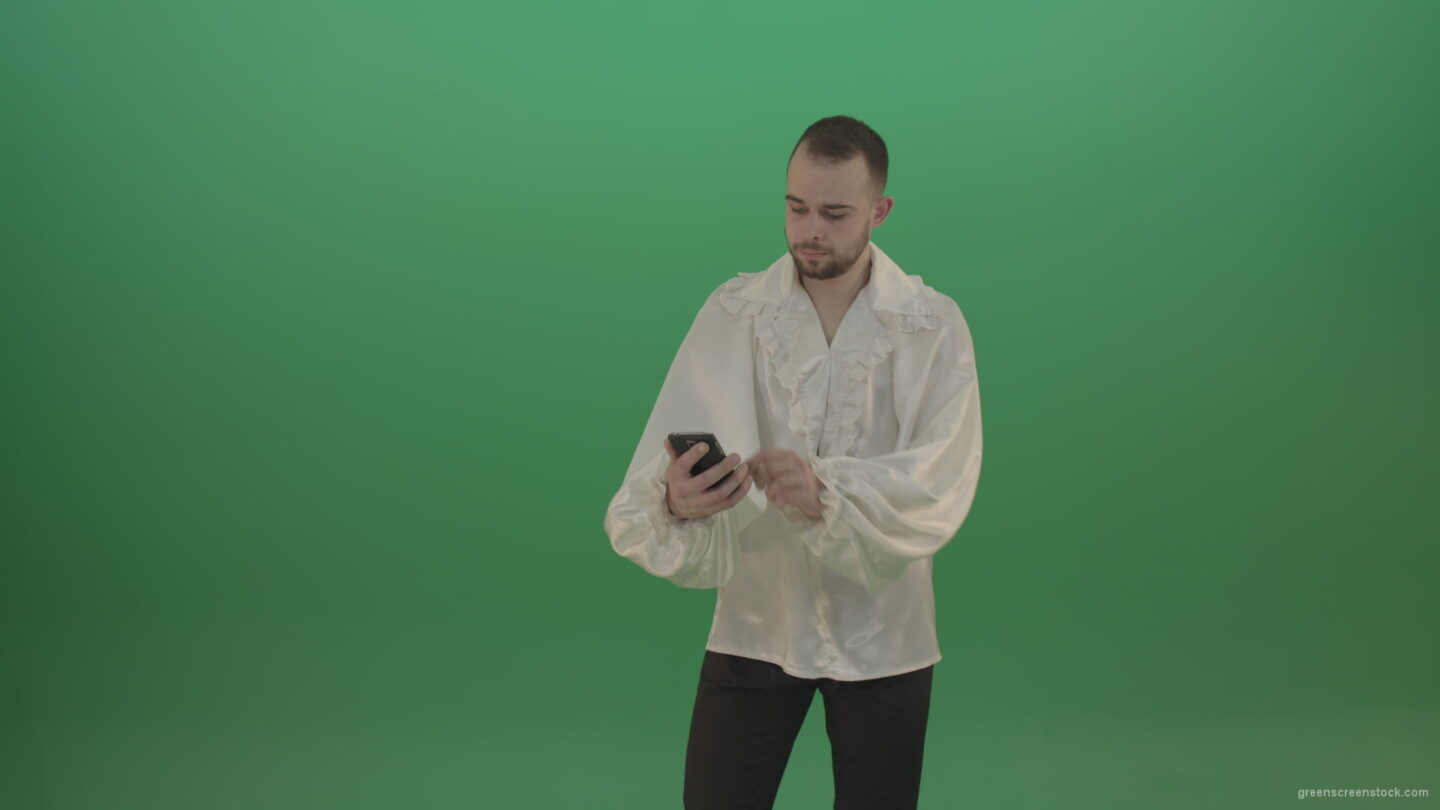 vj video background Guy-makes-a-selphi-and-posing-to-the-camera-isolated-on-green-screen_003