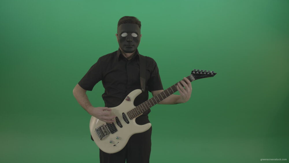 vj video background Hard-rock-guitarist-man-playing-white-guitar-in-black-mask-isolated-on-green-background_003