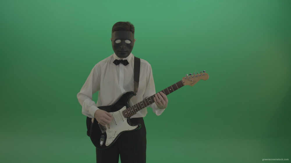 vj video background Horror-classic-guitarist-man-in-black-mask-and-white-shirt-play-guitar-on-green-screen_003