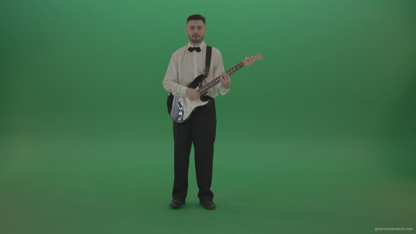 vj video background Jazz-man-guitarist-play-rock-guitar-music-on-green-screen_003