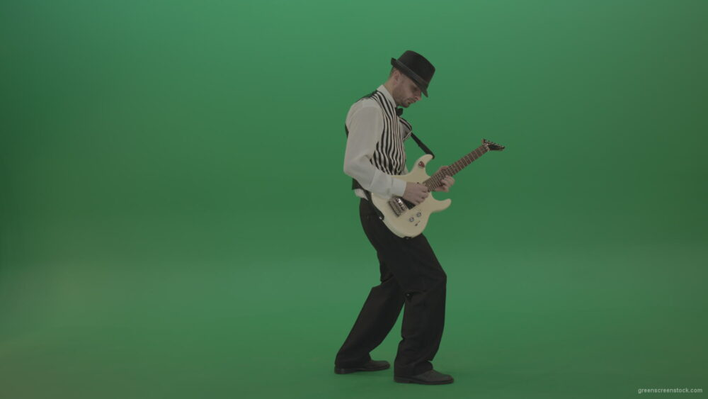 vj video background Jazz-man-musician-play-guitar-solo-music-in-guitar-on-green-screen-isolated-in-side-view_003