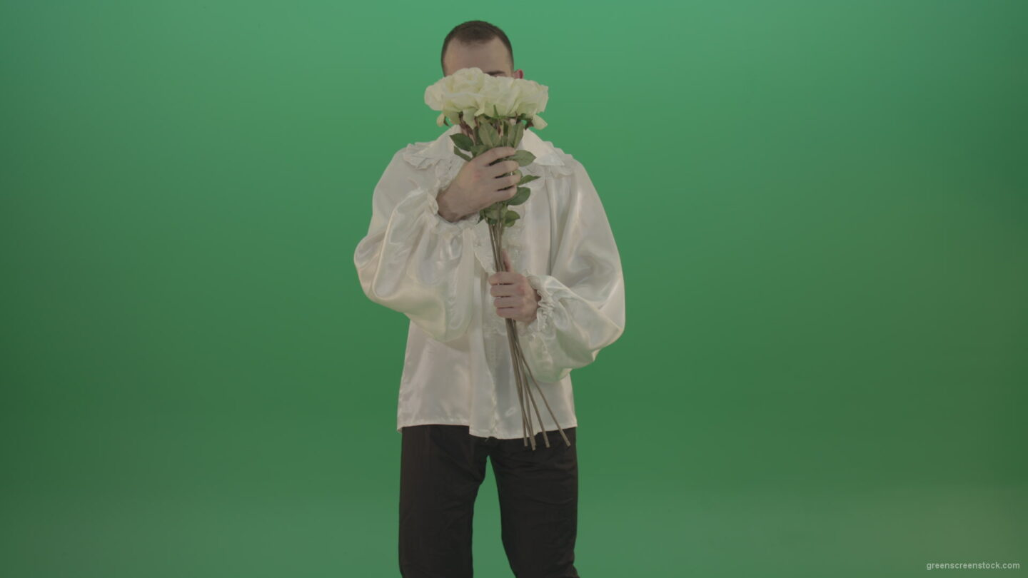 vj video background Man-holding-white-roses-flowers-isolated-on-green-screen_003