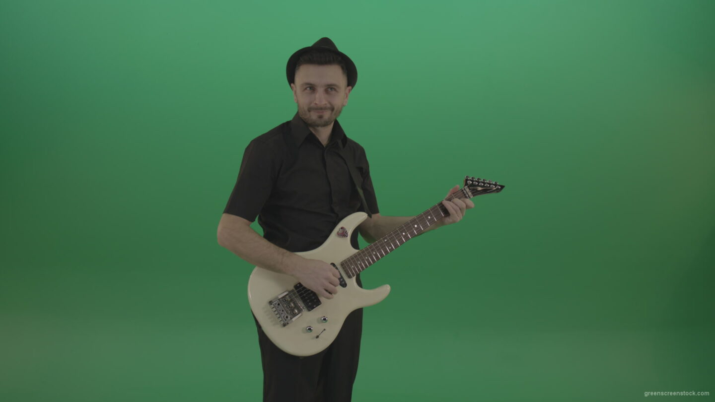 vj video background Man-in-black-playing-white-guitar-on-green-screen_003