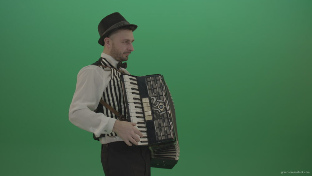 vj video background Man-in-hat-playing-Accordion-jazz-music-on-wedding-in-side-view-isolated-on-green-screen_003