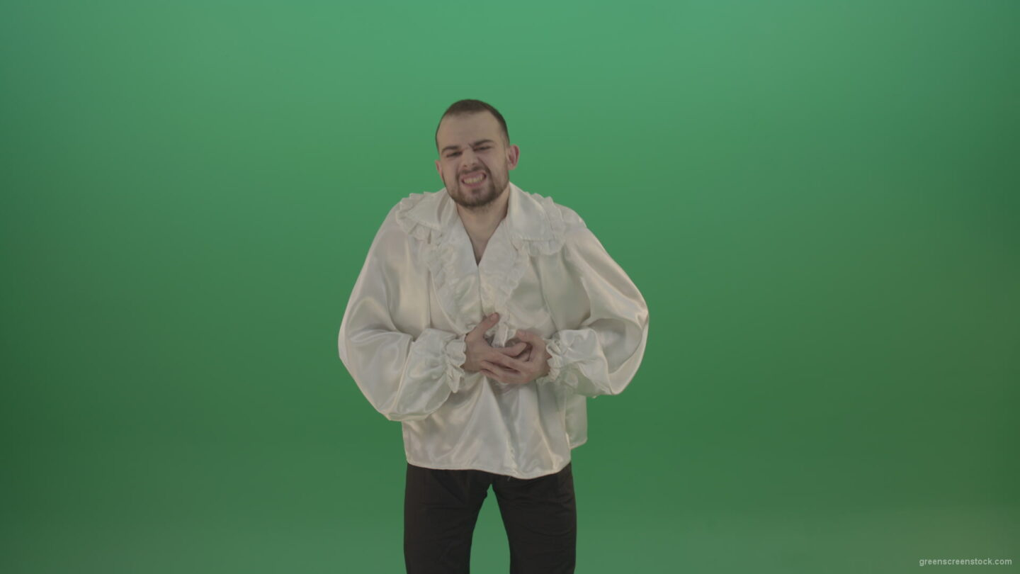vj video background Man-in-white-shirt-has-Pain-in-the-chest-isolated-in-green-screen-studio_003