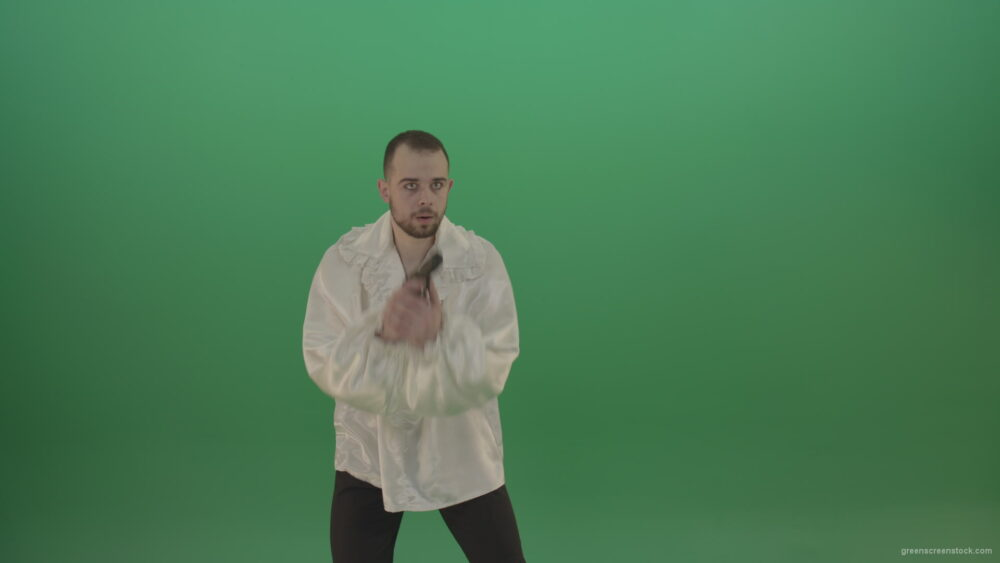 vj video background Man-in-white-shirt-shooting-with-pistol-hand-gun-isolated-in-green-screen-studio_003
