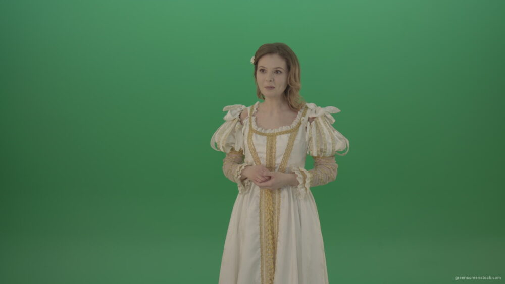 vj video background Medieval-girl-in-a-white-suit-looking-far-away-isolated-on-green-background_003