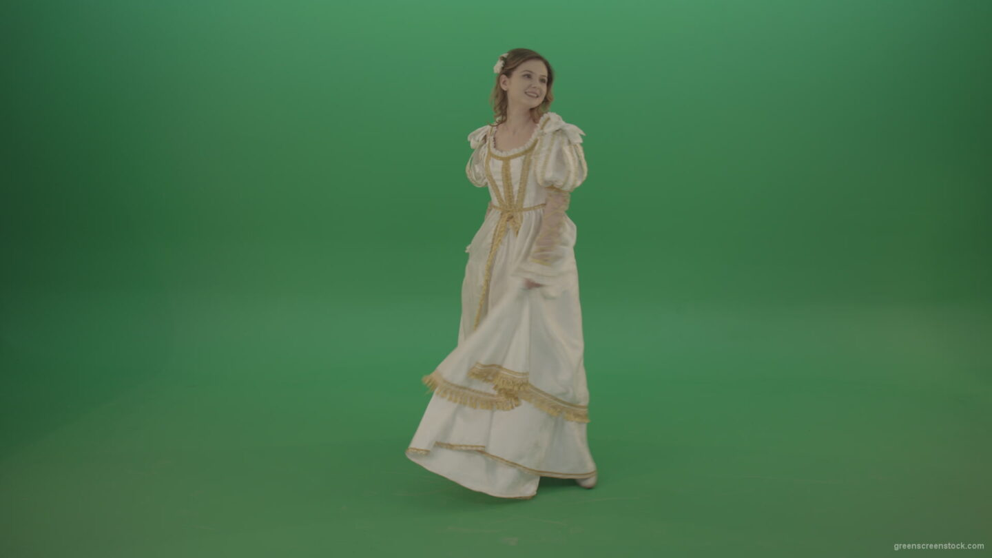 vj video background Merry-medieval-girl-dancing-and-rejoicing-isolated-on-green-background_003