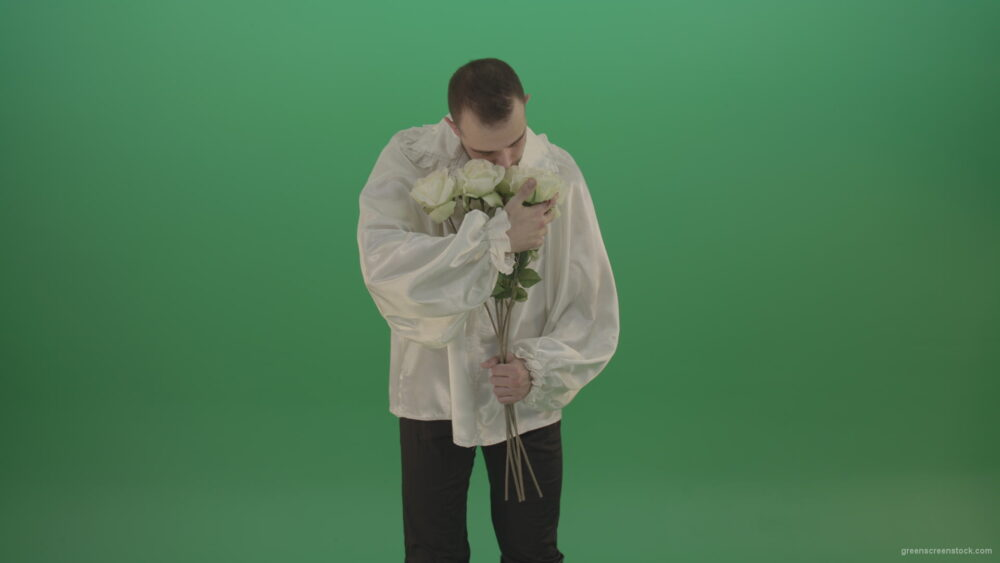 vj video background Middle-Age-theater-actor-boy-give-to-camera-White-flowers-isolated-on-green-background_003