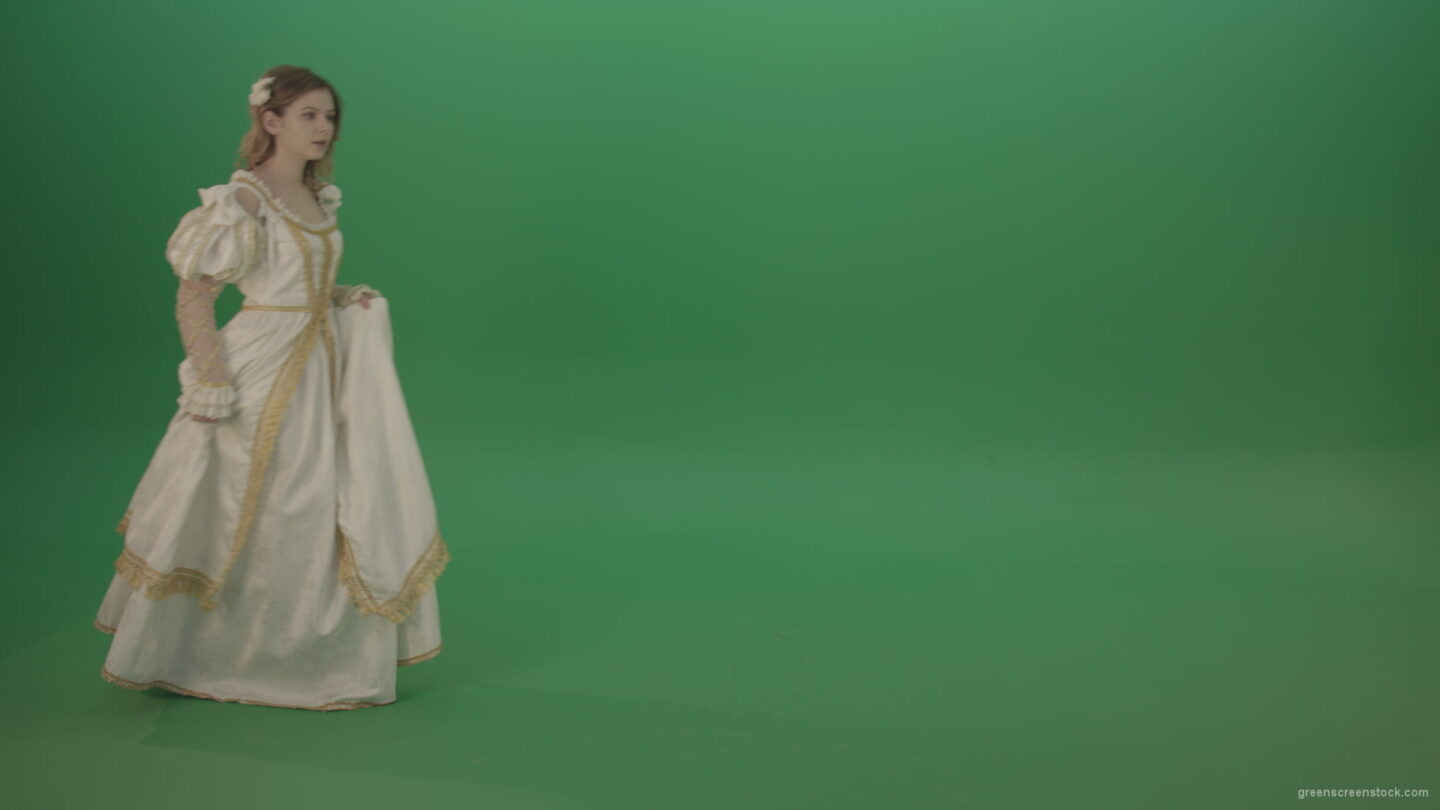 vj video background Mysterious-princess-makes-a-white-dress-goes-aside-isolated-on-green-background_003