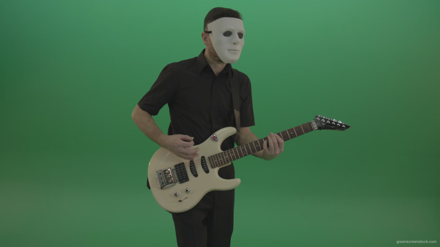 vj video background Rock-man-in-white-mask-and-black-wear-playing-guitar-isolated-on-green-screen-in-front-view_003