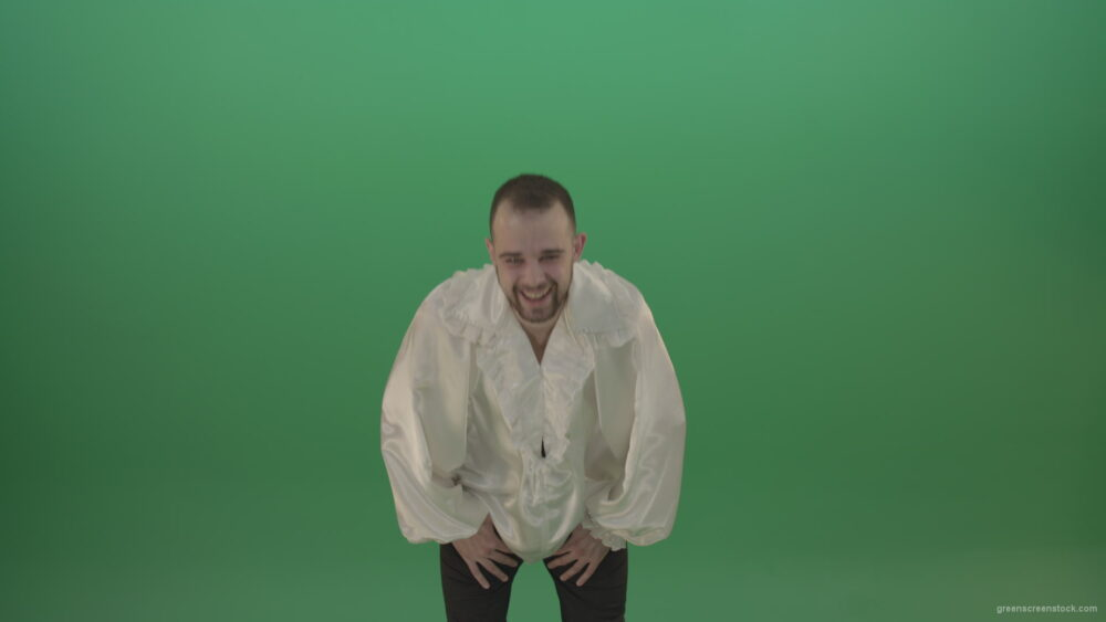 vj video background Scarry-laughing-from-the-professional-actor-in-white-shirt-isolated-on-green-screen-background_003