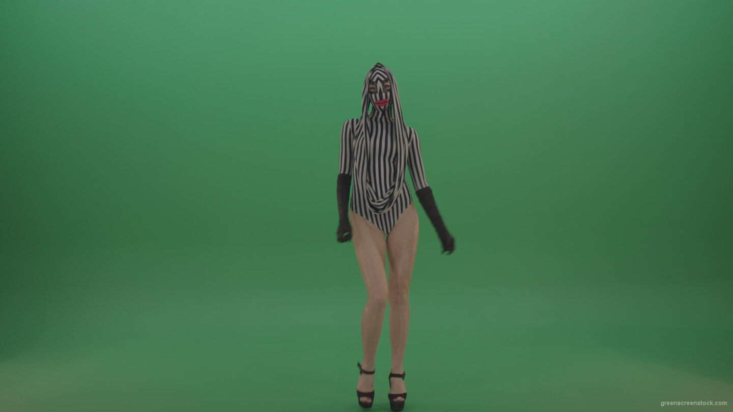 vj video background Sexy-girl-in-striped-suit-with-red-lips-cyclically-goes-on-green-background_003
