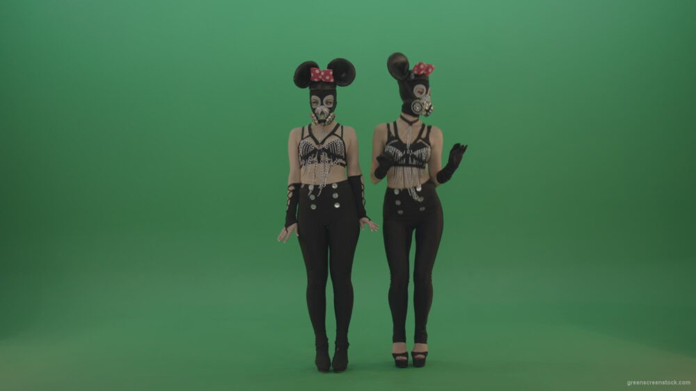 vj video background Two-girls-dressed-in-Mickey-Mouse-sit-squarelyon-green-screen_003