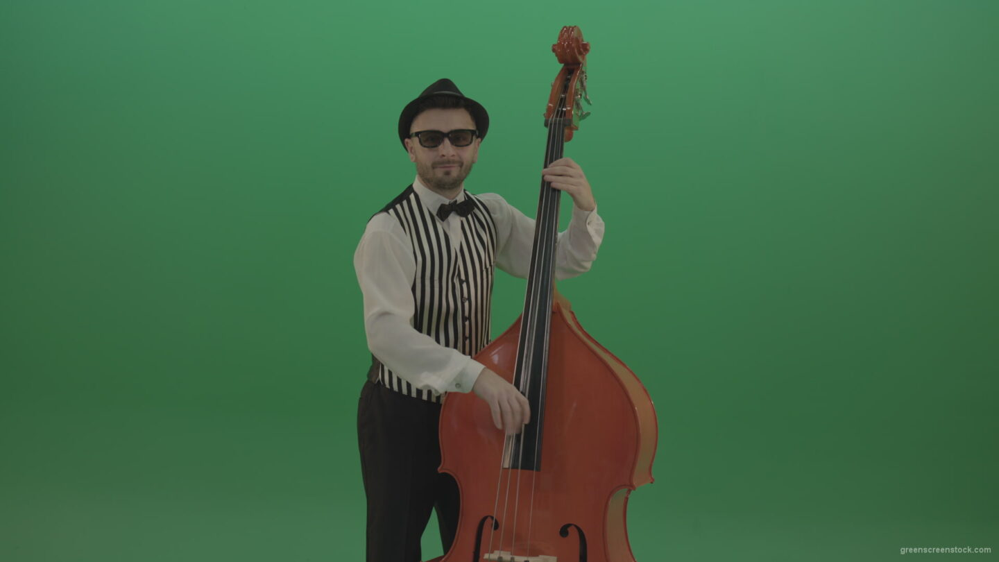 vj video background Virtuoso-man-playing-jazz-on-double-bass-String-music-instrument-isolated-on-green-screen_003