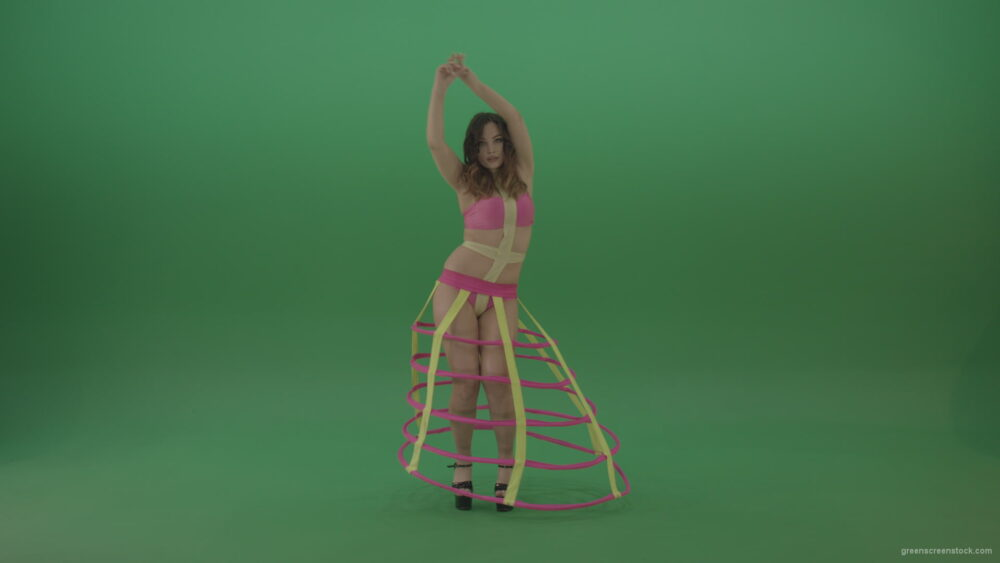 vj video background With-a-beautiful-appearance-brunette-in-an-extraordinary-costume-dancing-on-green-screen_003