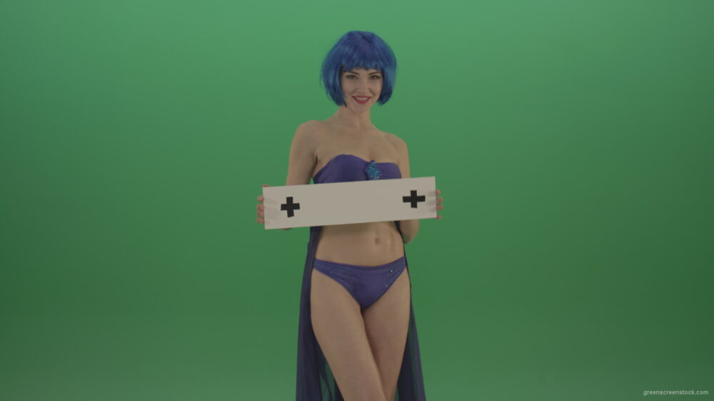 vj video background Woman-in-Blue-costume-posing-with-text-plane-mockup-on-green-screen-_003