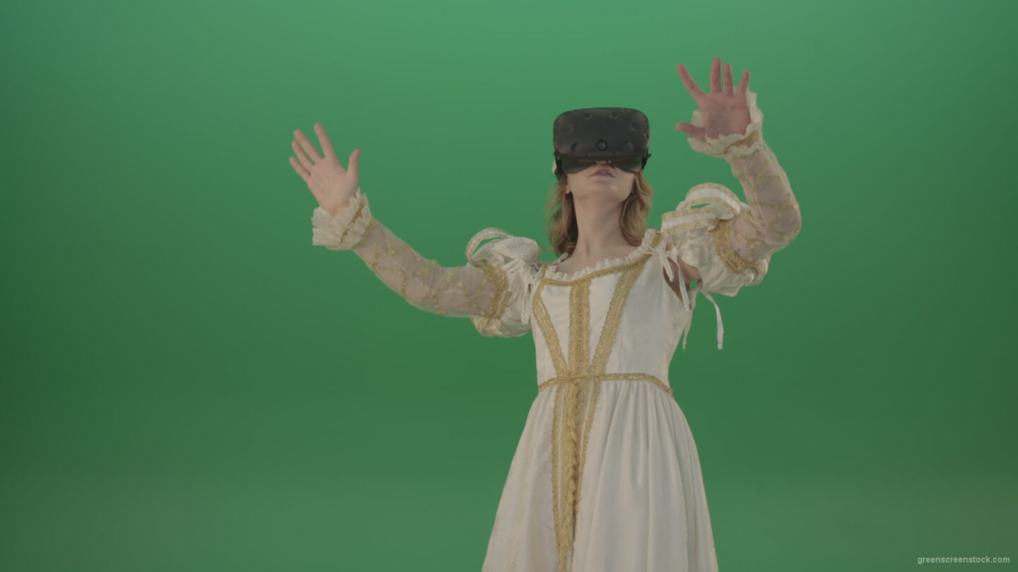 3d-glasses-of-virtual-reality-the-girl-looked-into-the-virtual-world-isolated-on-green-screen_007 Green Screen Stock