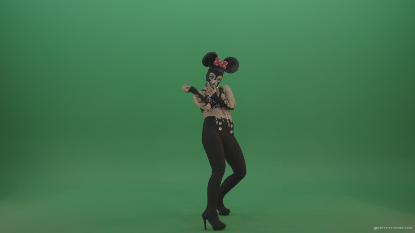 vj video background Erotic-sexy-girl-dancing-in-mask-and-mouse-costume-on-green-screen_003