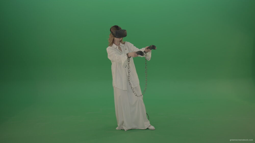 vj video background Girl-in-a-white-spacious-dress-is-wearing-glasses-of-virtual-reality-isolated-on-green-background_003