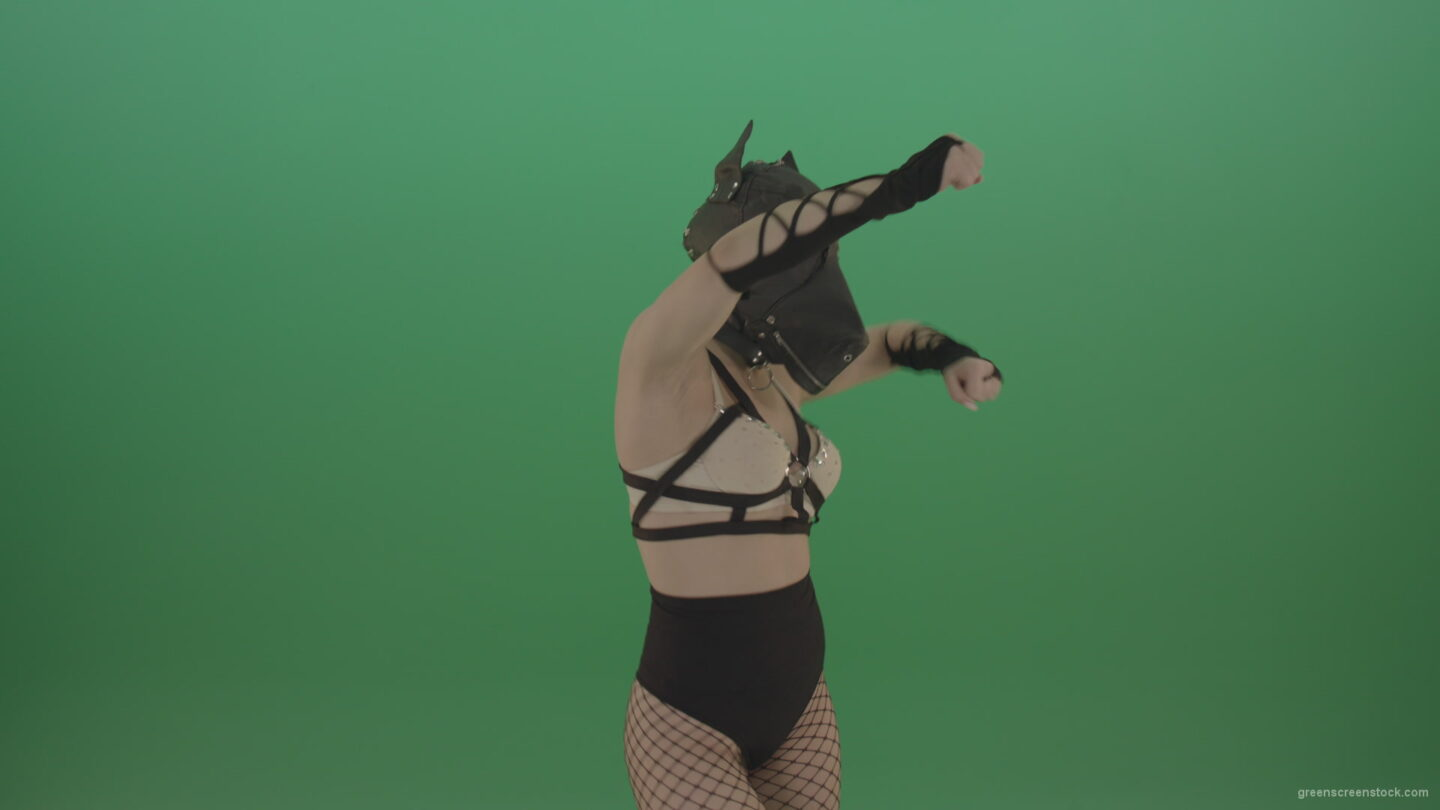 vj video background Girl-in-dog-mask-making-hand-beat-on-green-screen_003