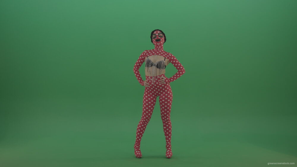 vj video background Girl-in-red-strip-dance-costume-in-front-view-posing-isolated-on-green-screen_003