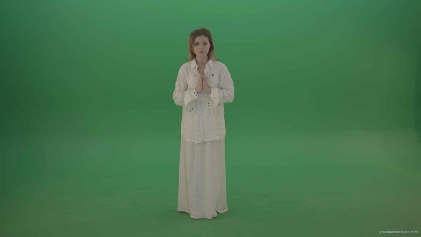 vj video background Girl-wearing-a-white-suit-pray-to-god-isolated-on-green-background_003