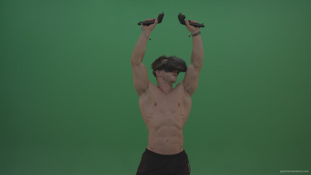 vj video background Green-Screen-Bodybuilder-in-VR-Green-Screen-Stock-Footage-11_003