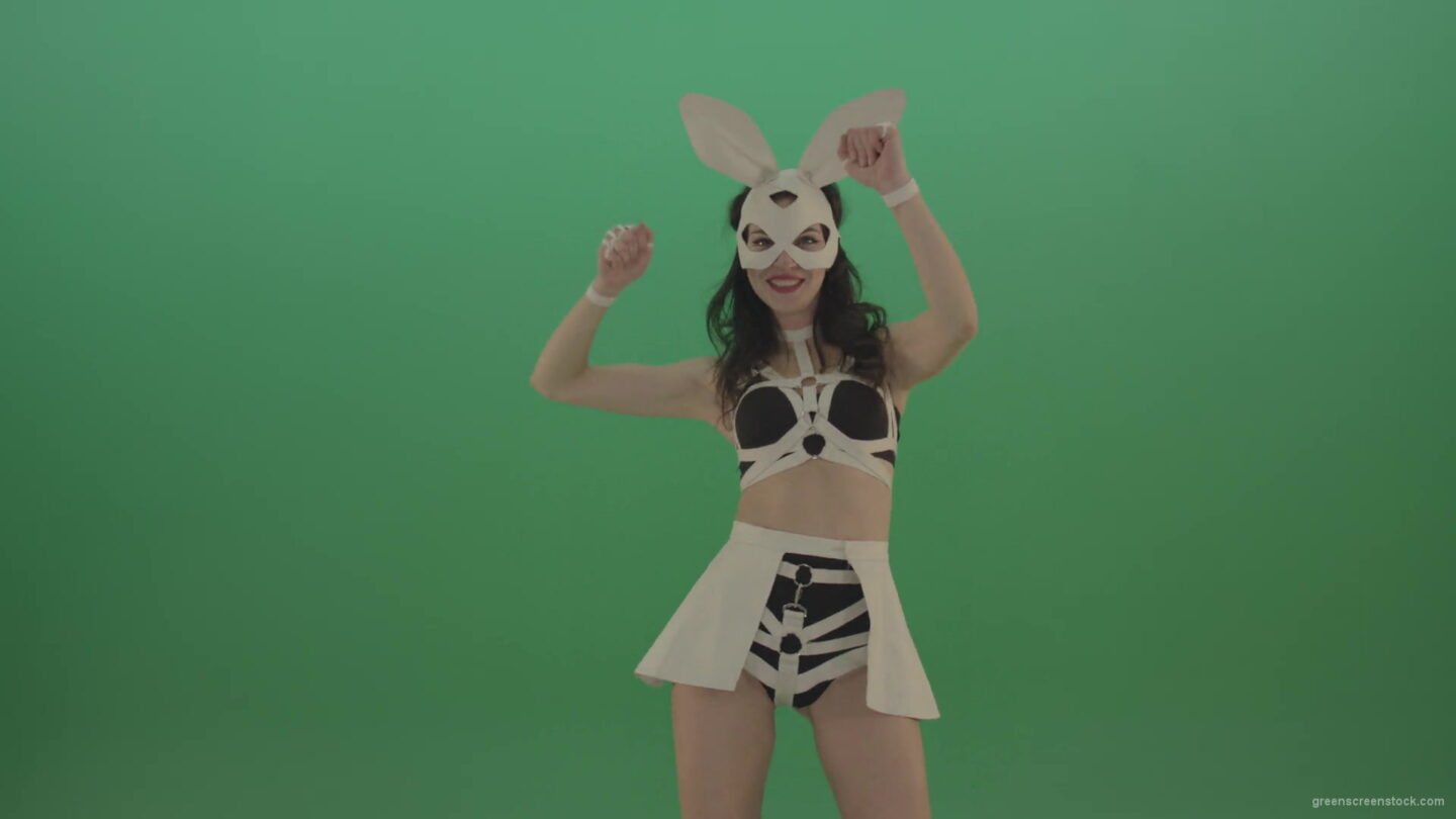 vj video background Go-Go-Dancing-Girl-in-Rabbit-Costume-beating-hands-over-Green-Screen-1920_003