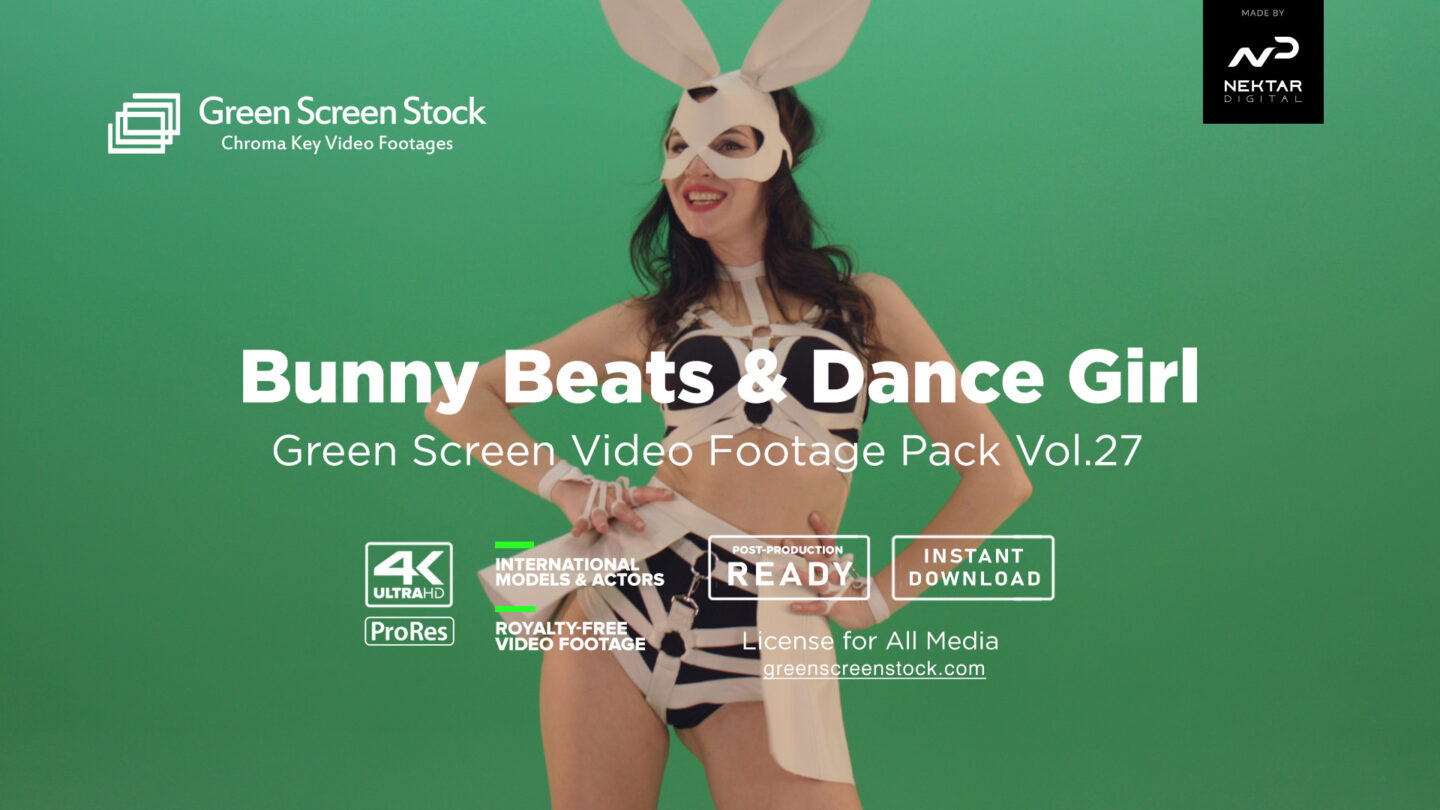 Green Screen Video Footage Pack Bunny Beats & Dance Girl