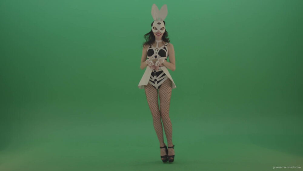vj video background Happy-girl-dressed-in-rabbit-costume-for-adults-cyclically-jumping-in-different-directions-with-white-ears-on-chromakey-background-1920_003